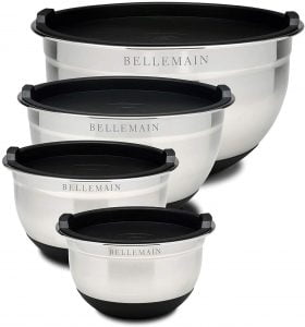 Bellemain Stainless Steel Non Slip Mixing Bowls with Lids