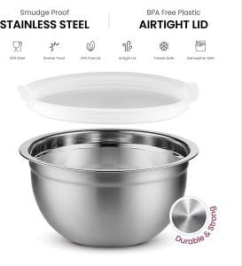 Premium Stainless Steel Mixing Bowls with Airtight Lids Set of 5